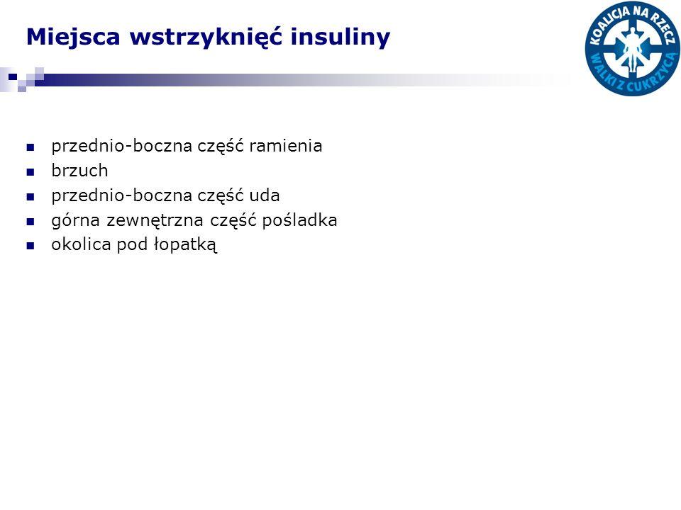Miejsca wstrzyknięć insuliny przednio-boczn a część ramienia brzuch przednio-boczn a część uda górna zewnętrzna część pośladka okolica pod łopatką