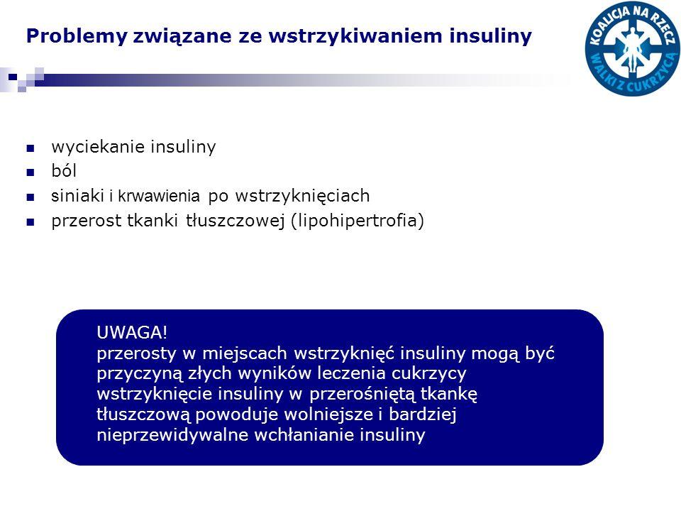 Problemy związane ze wstrzykiwaniem insuliny wyciekanie insuliny ból s iniaki i krwawienia po wstrzyknięciach przerost tkanki tłuszczowej (lipohipertr