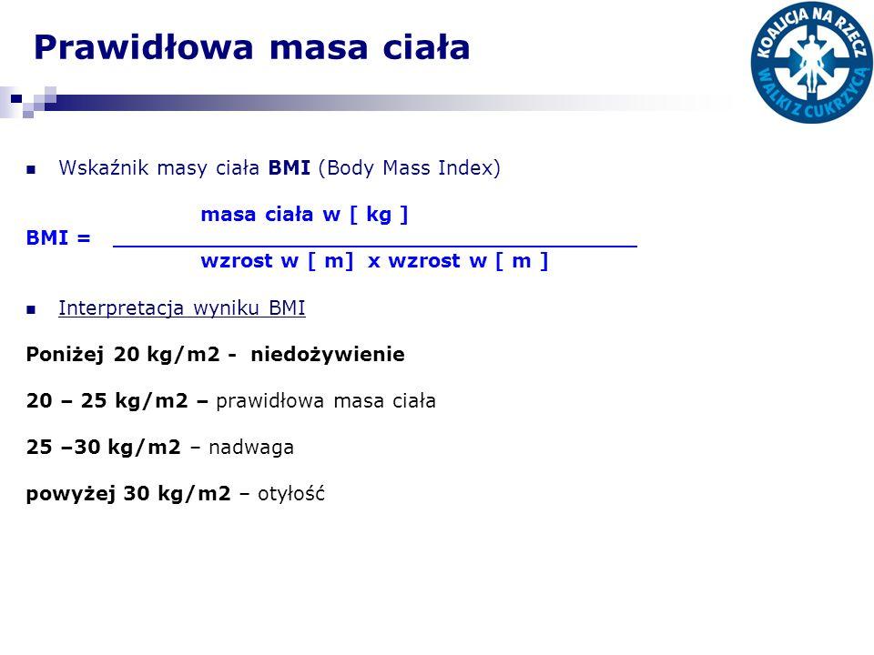 Prawidłowa masa ciała Wskaźnik masy ciała BMI (Body Mass Index) masa ciała w [ kg ] BMI = wzrost w [ m] x wzrost w [ m ] Interpretacja wyniku BMI Poni