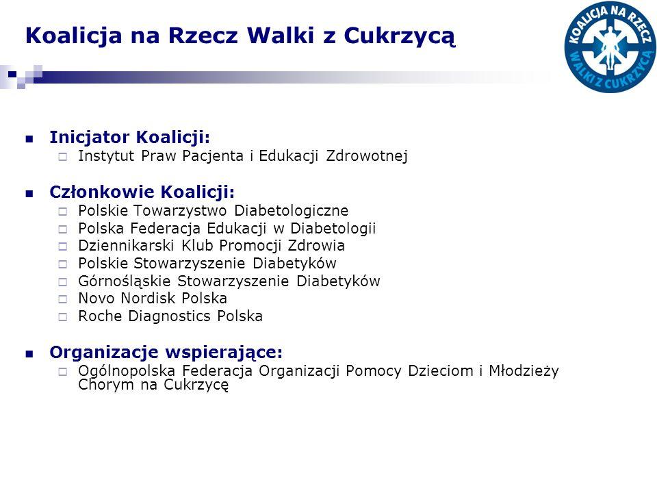 Koalicja na Rzecz Walki z Cukrzycą Inicjator Koalicji: Instytut Praw Pacjenta i Edukacji Zdrowotnej Członkowie Koalicji: Polskie Towarzystwo Diabetolo