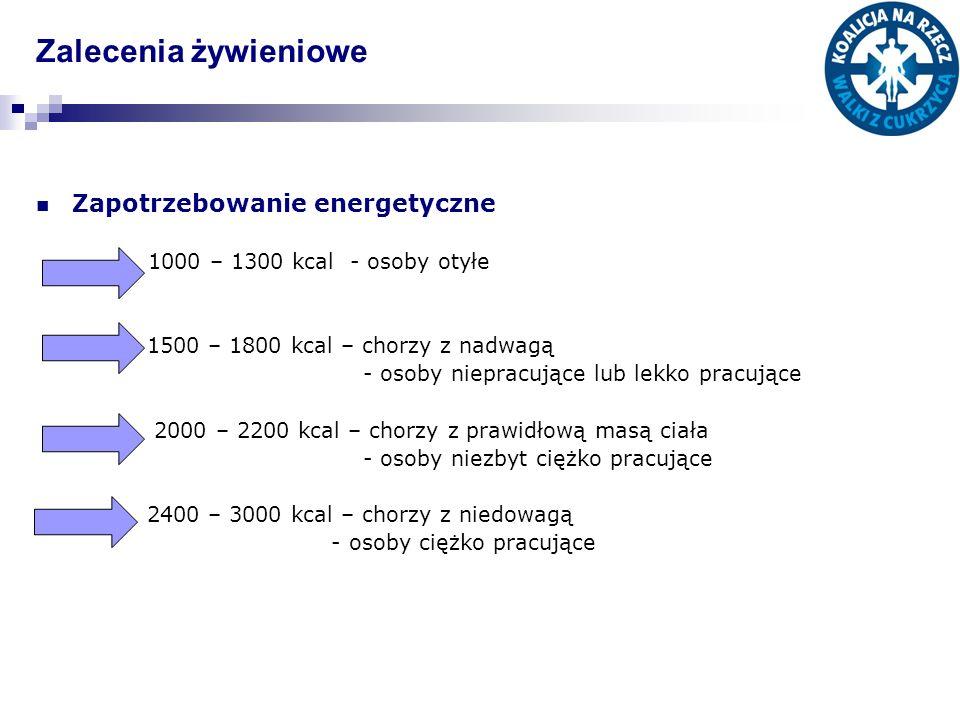 Zalecenia żywieniowe Zapotrzebowanie energetyczne 1000 – 1300 kcal - osoby otyłe 1500 – 1800 kcal – chorzy z nadwagą - osoby niepracujące lub lekko pr