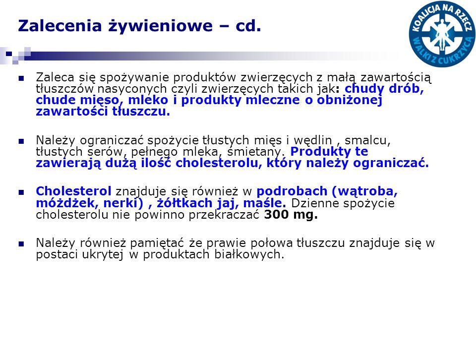 Zalecenia żywieniowe – cd. Zaleca się spożywanie produktów zwierzęcych z małą zawartością tłuszczów nasyconych czyli zwierzęcych takich jak: chudy dró
