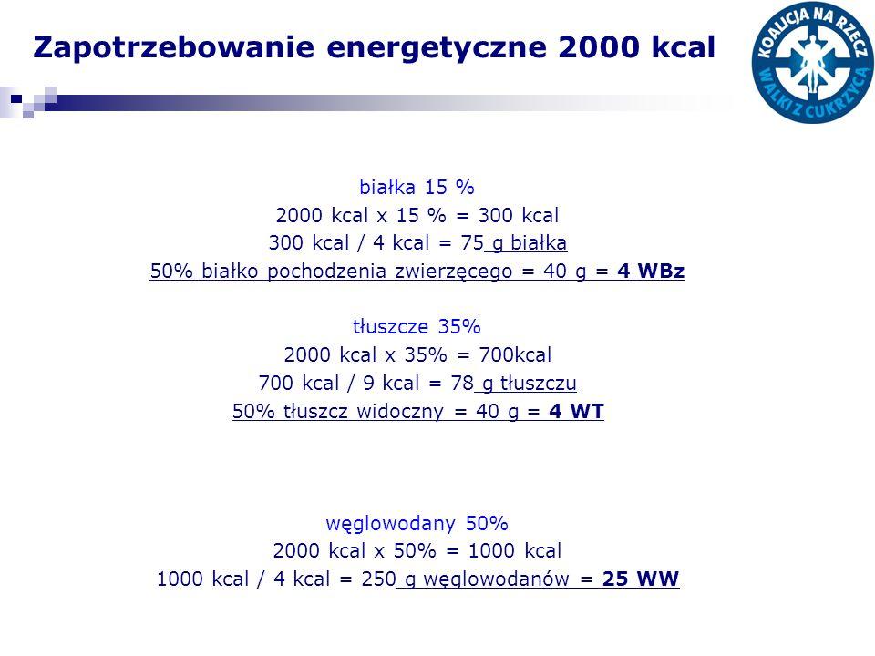Zapotrzebowanie energetyczne 2000 kcal białka 15 % 2000 kcal x 15 % = 300 kcal 300 kcal / 4 kcal = 75 g białka 50% białko pochodzenia zwierzęcego = 40 g = 4 WBz tłuszcze 35% 2000 kcal x 35% = 700kcal 700 kcal / 9 kcal = 78 g tłuszczu 50% tłuszcz widoczny = 40 g = 4 WT węglowodany 50% 2000 kcal x 50% = 1000 kcal 1000 kcal / 4 kcal = 250 g węglowodanów = 25 WW