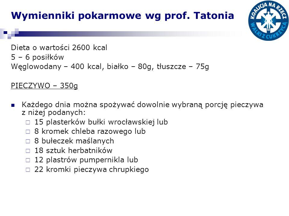 Wymienniki pokarmowe wg prof. Tatonia Dieta o wartości 2600 kcal 5 – 6 posiłków Węglowodany – 400 kcal, białko – 80g, tłuszcze – 75g PIECZYWO – 350g K