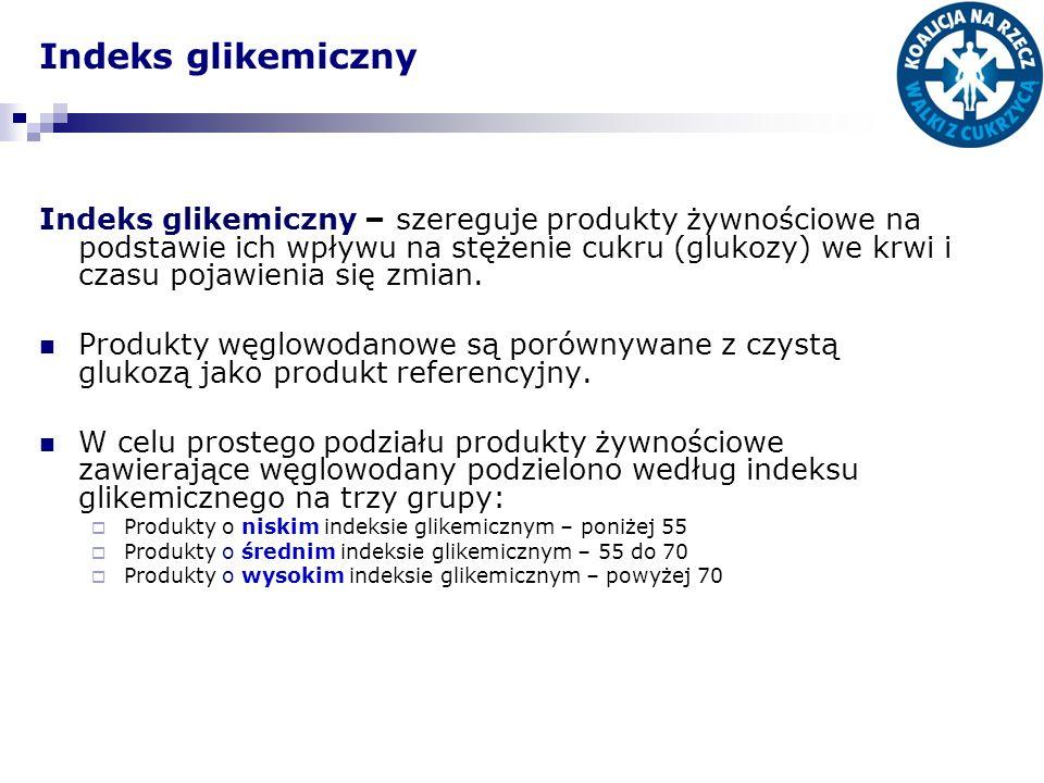 Indeks glikemiczny Indeks glikemiczny – szereguje produkty żywnościowe na podstawie ich wpływu na stężenie cukru (glukozy) we krwi i czasu pojawienia