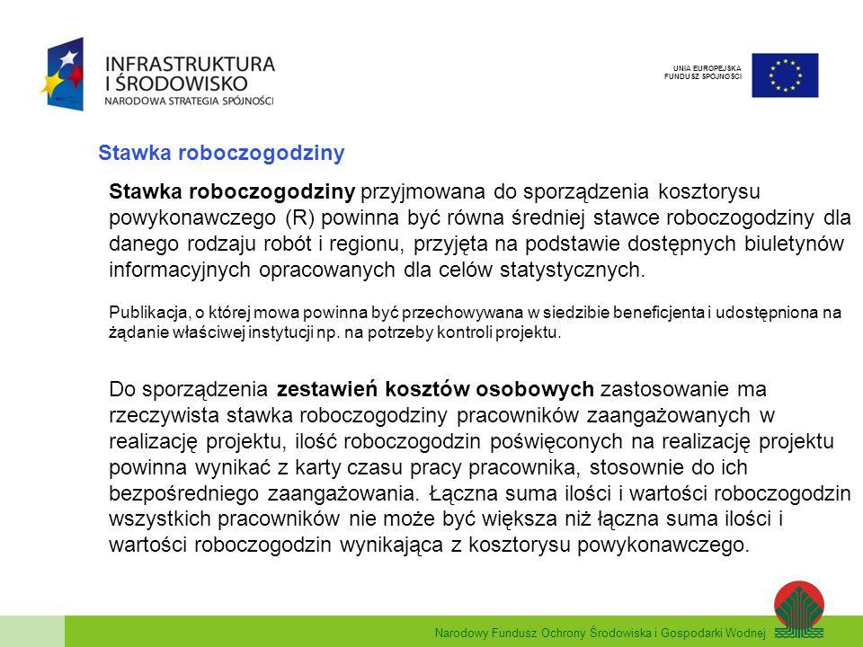 Narodowy Fundusz Ochrony Środowiska i Gospodarki Wodnej UNIA EUROPEJSKA FUNDUSZ SPÓJNOŚCI Stawka roboczogodziny Stawka roboczogodziny przyjmowana do s
