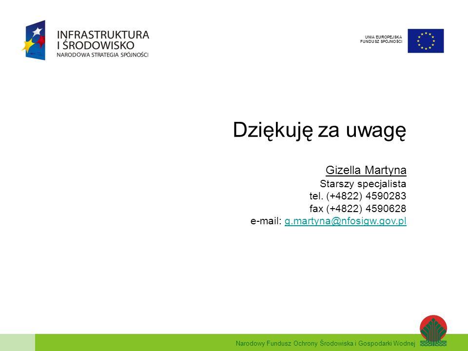 Narodowy Fundusz Ochrony Środowiska i Gospodarki Wodnej UNIA EUROPEJSKA FUNDUSZ SPÓJNOŚCI Dziękuję za uwagę Gizella Martyna Starszy specjalista tel.