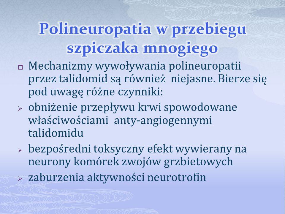 Mechanizmy wywoływania polineuropatii przez talidomid są również niejasne. Bierze się pod uwagę różne czynniki: obniżenie przepływu krwi spowodowane w