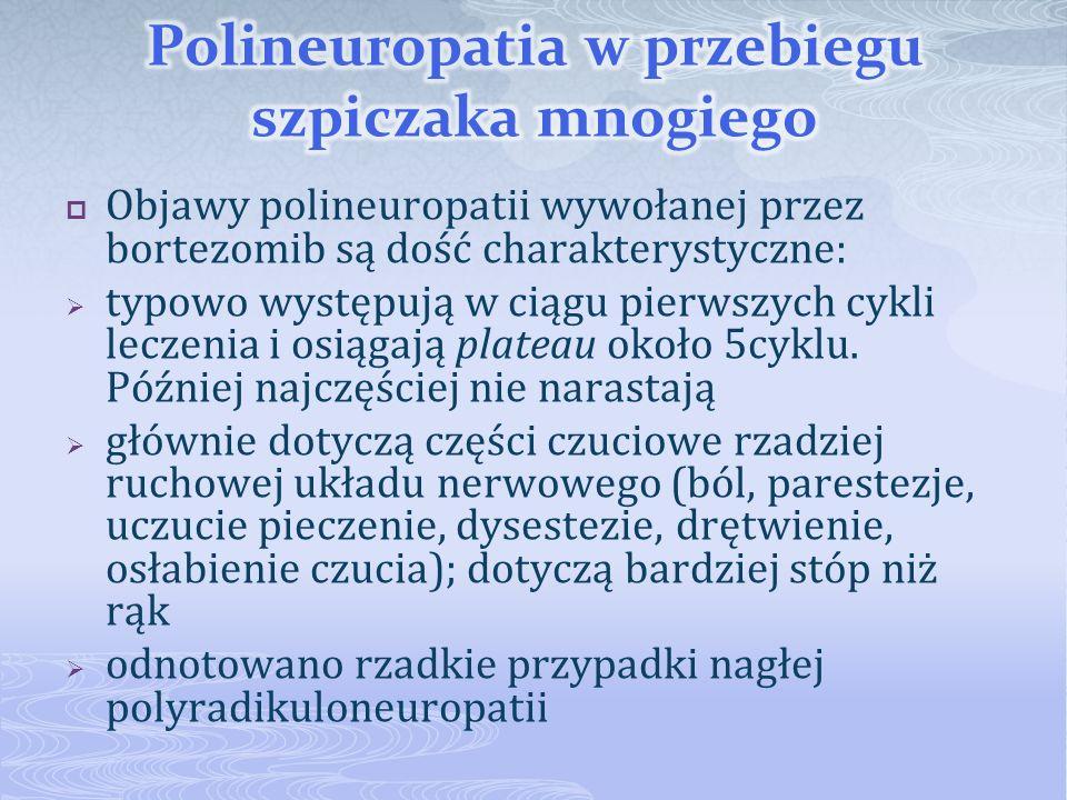 Objawy polineuropatii wywołanej przez bortezomib są dość charakterystyczne: typowo występują w ciągu pierwszych cykli leczenia i osiągają plateau okoł