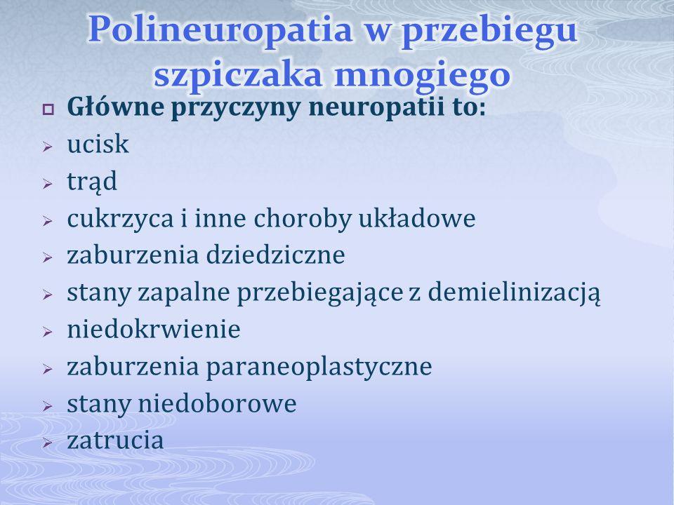 Główne przyczyny neuropatii to: ucisk trąd cukrzyca i inne choroby układowe zaburzenia dziedziczne stany zapalne przebiegające z demielinizacją niedok