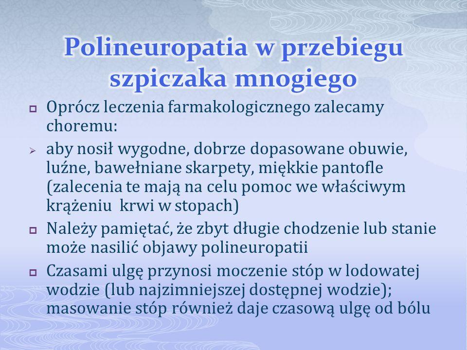 Oprócz leczenia farmakologicznego zalecamy choremu: aby nosił wygodne, dobrze dopasowane obuwie, luźne, bawełniane skarpety, miękkie pantofle (zalecen