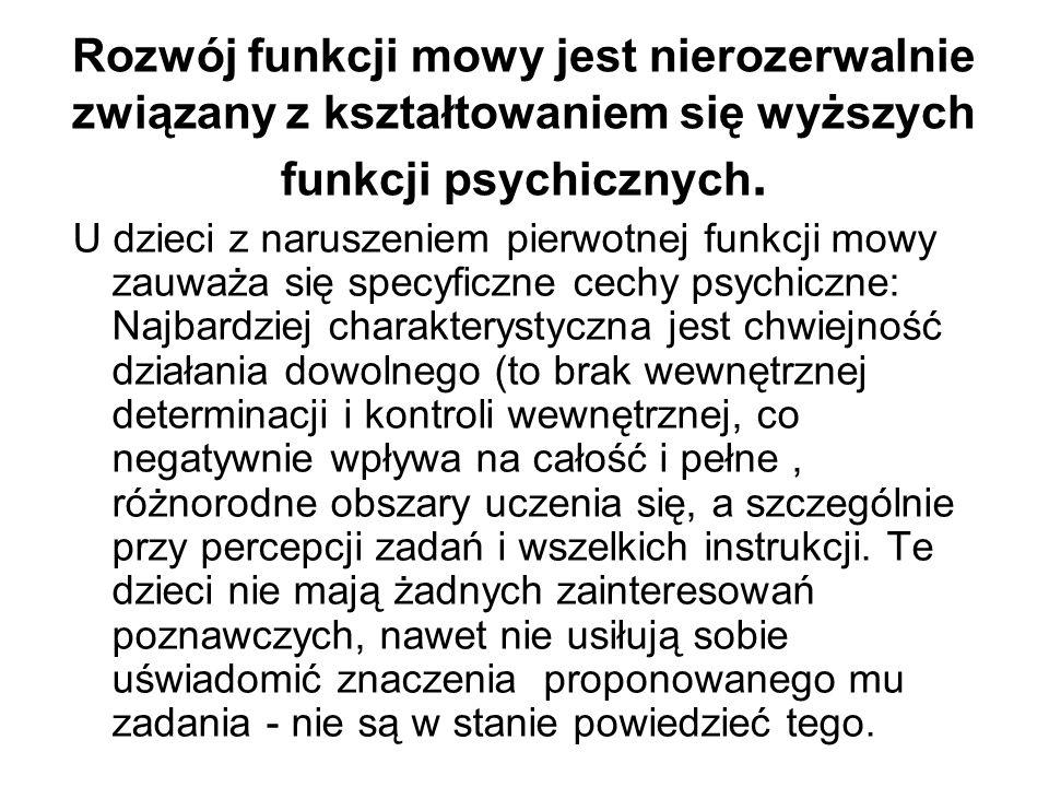 Rozwój funkcji mowy jest nierozerwalnie związany z kształtowaniem się wyższych funkcji psychicznych. U dzieci z naruszeniem pierwotnej funkcji mowy za