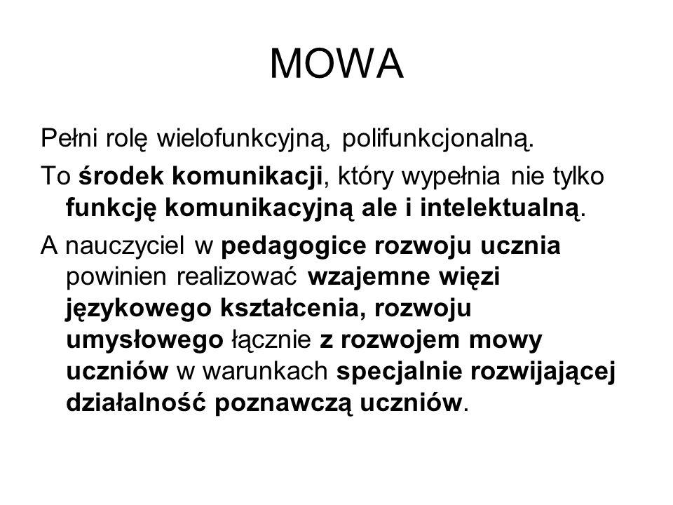 MOWA Pełni rolę wielofunkcyjną, polifunkcjonalną. To środek komunikacji, który wypełnia nie tylko funkcję komunikacyjną ale i intelektualną. A nauczyc