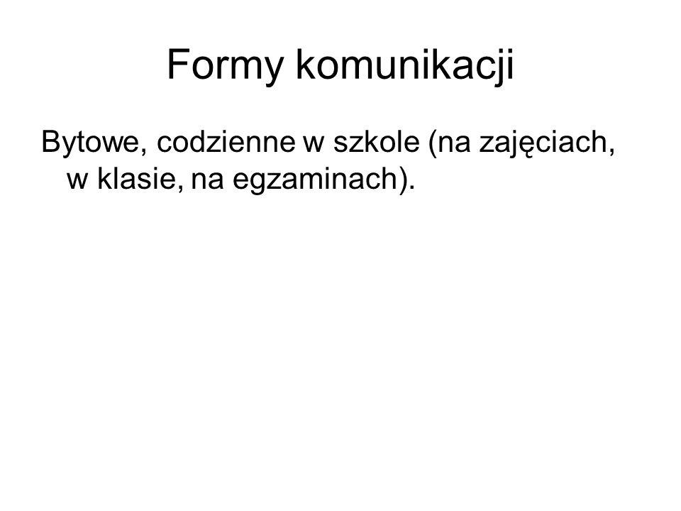 Formy komunikacji Bytowe, codzienne w szkole (na zajęciach, w klasie, na egzaminach).