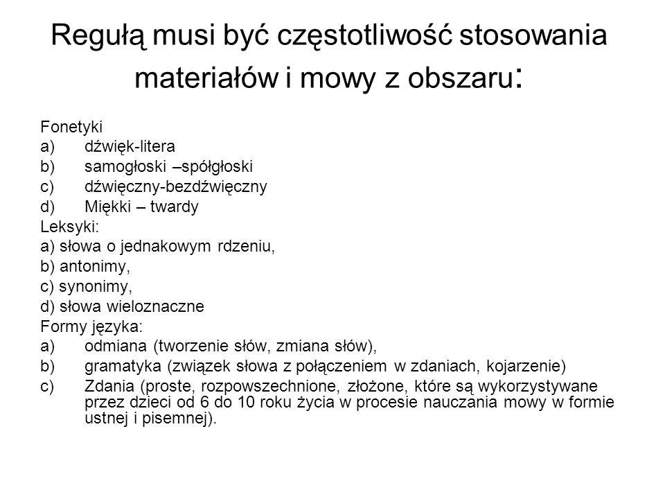 Regułą musi być częstotliwość stosowania materiałów i mowy z obszaru : Fonetyki a)dźwięk-litera b)samogłoski –spółgłoski c)dźwięczny-bezdźwięczny d)Mi