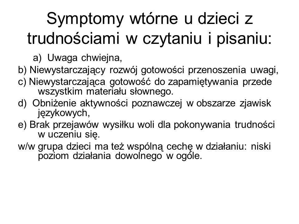 Symptomy wtórne u dzieci z trudnościami w czytaniu i pisaniu: a) Uwaga chwiejna, b) Niewystarczający rozwój gotowości przenoszenia uwagi, c) Niewystar