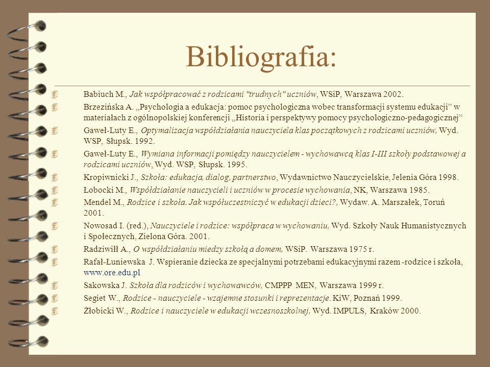 Bibliografia: 4 Babiuch M., Jak współpracować z rodzicami