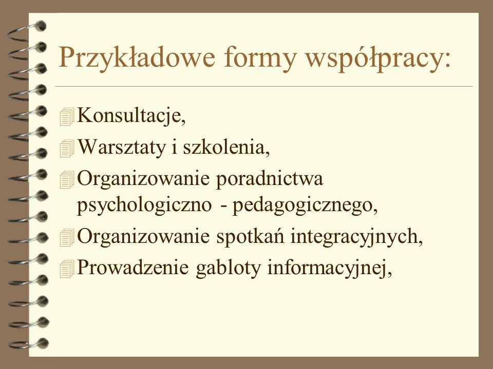 Przykładowe formy współpracy: 4 Konsultacje, 4 Warsztaty i szkolenia, 4 Organizowanie poradnictwa psychologiczno - pedagogicznego, 4 Organizowanie spo