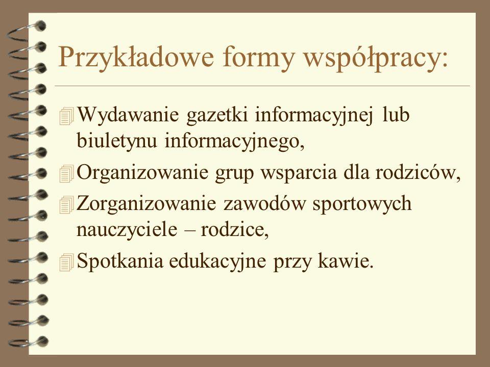 Przykładowe formy współpracy: 4 Wydawanie gazetki informacyjnej lub biuletynu informacyjnego, 4 Organizowanie grup wsparcia dla rodziców, 4 Zorganizow