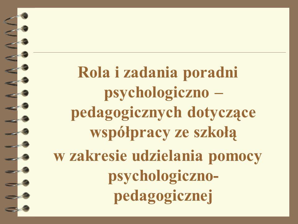 Rola i zadania poradni psychologiczno – pedagogicznych dotyczące współpracy ze szkołą w zakresie udzielania pomocy psychologiczno- pedagogicznej