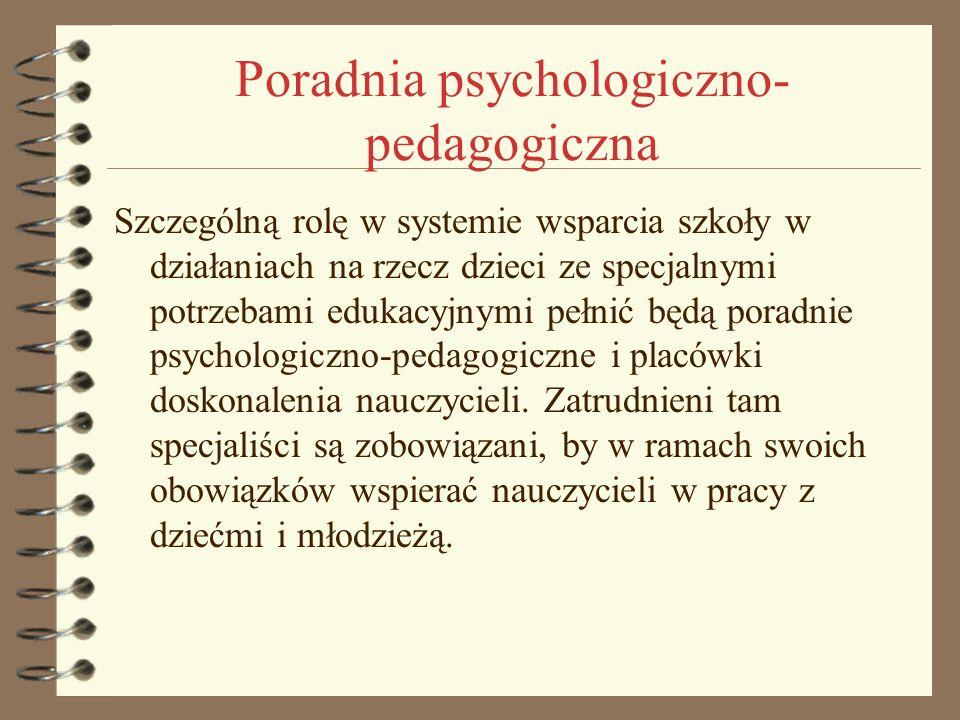 Poradnia psychologiczno- pedagogiczna Szczególną rolę w systemie wsparcia szkoły w działaniach na rzecz dzieci ze specjalnymi potrzebami edukacyjnymi
