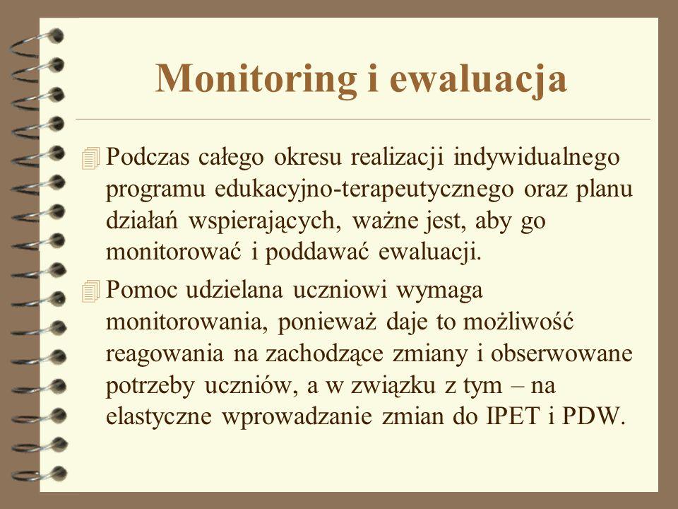 Monitoring i ewaluacja 4 Podczas całego okresu realizacji indywidualnego programu edukacyjno-terapeutycznego oraz planu działań wspierających, ważne j
