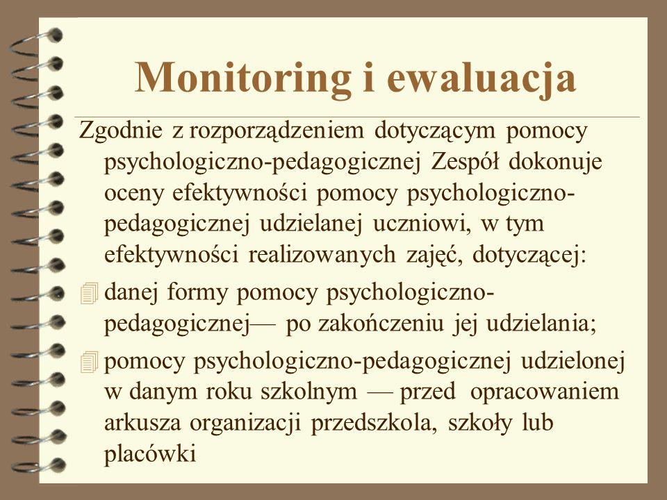 Monitoring i ewaluacja Zgodnie z rozporządzeniem dotyczącym pomocy psychologiczno-pedagogicznej Zespół dokonuje oceny efektywności pomocy psychologicz