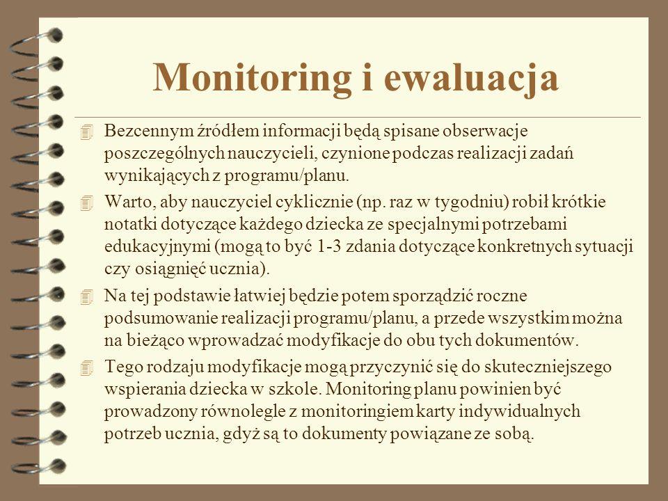 Monitoring i ewaluacja 4 Bezcennym źródłem informacji będą spisane obserwacje poszczególnych nauczycieli, czynione podczas realizacji zadań wynikający