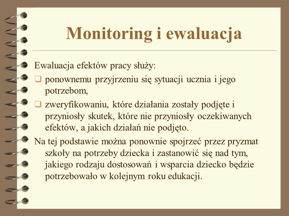 Monitoring i ewaluacja Ewaluacja efektów pracy służy: ponownemu przyjrzeniu się sytuacji ucznia i jego potrzebom, zweryfikowaniu, które działania zost