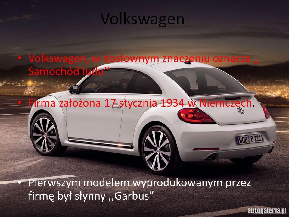 Volkswagen Volkswagen, w dosłownym znaczeniu oznacza Samochód ludu Firma założona 17 stycznia 1934 w Niemczech. Pierwszym modelem wyprodukowanym przez
