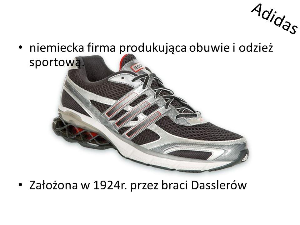 Adidas niemiecka firma produkująca obuwie i odzież sportową. Założona w 1924r. przez braci Dasslerów