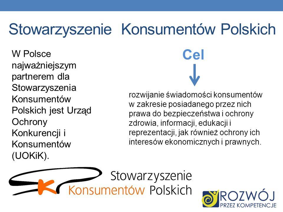 Stowarzyszenie Konsumentów Polskich Cel rozwijanie świadomości konsumentów w zakresie posiadanego przez nich prawa do bezpieczeństwa i ochrony zdrowia