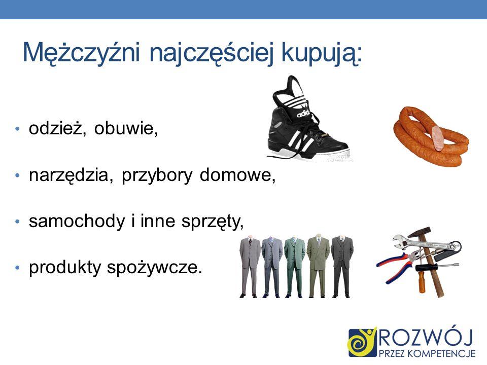 Mężczyźni najczęściej kupują: odzież, obuwie, narzędzia, przybory domowe, samochody i inne sprzęty, produkty spożywcze.