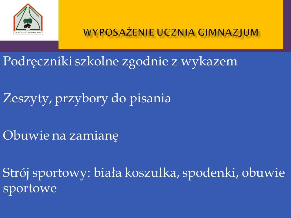 Podręczniki szkolne zgodnie z wykazem Zeszyty, przybory do pisania Obuwie na zamianę Strój sportowy: biała koszulka, spodenki, obuwie sportowe