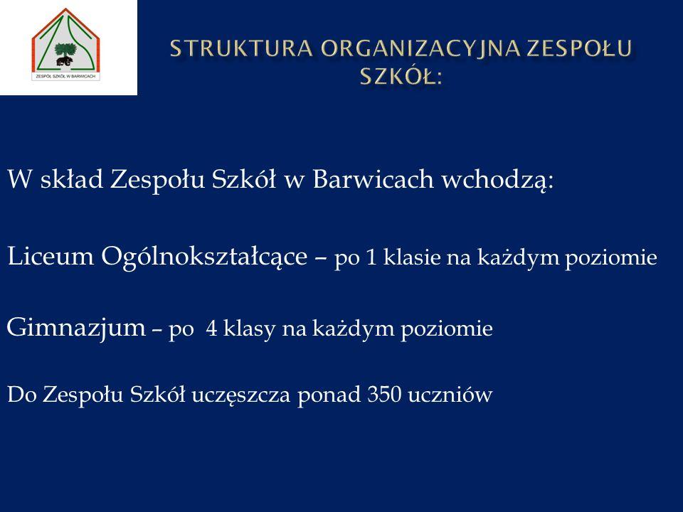 W skład Zespołu Szkół w Barwicach wchodzą: Liceum Ogólnokształcące – po 1 klasie na każdym poziomie Gimnazjum – po 4 klasy na każdym poziomie Do Zespo