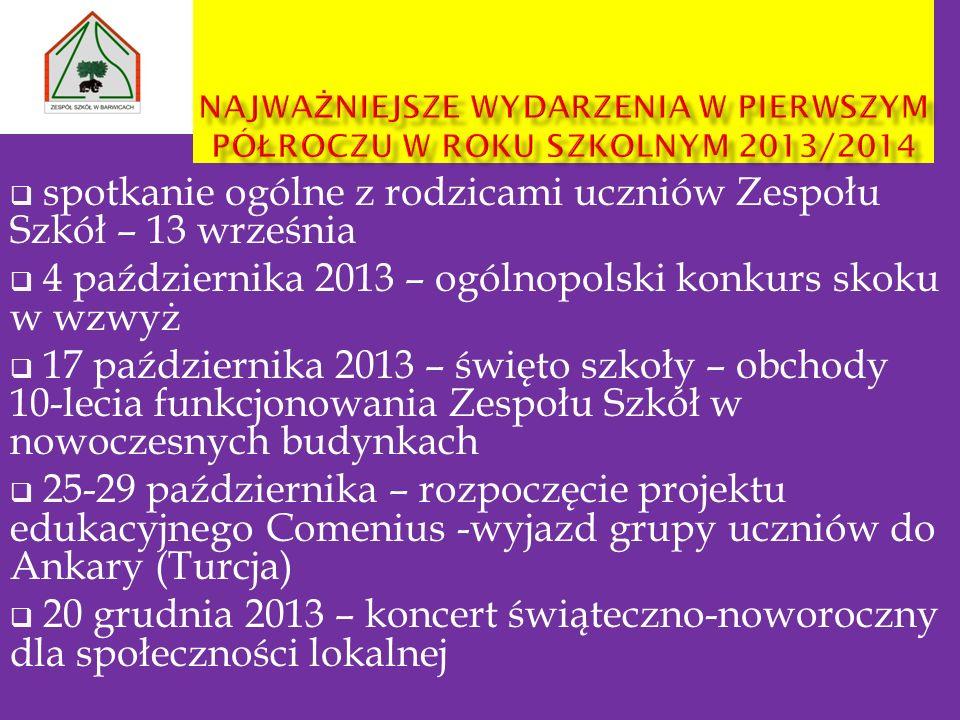 spotkanie ogólne z rodzicami uczniów Zespołu Szkół – 13 września 4 października 2013 – ogólnopolski konkurs skoku w wzwyż 17 października 2013 – święt