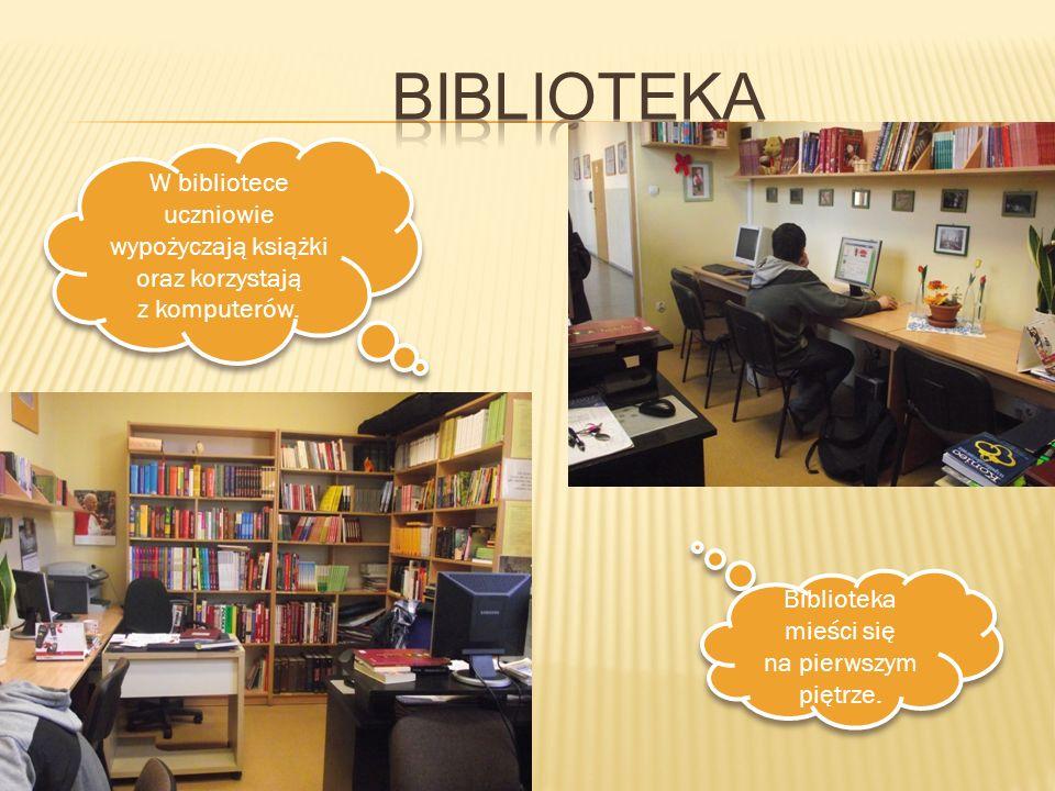 W bibliotece uczniowie wypożyczają książki oraz korzystają z komputerów. W bibliotece uczniowie wypożyczają książki oraz korzystają z komputerów. Bibl