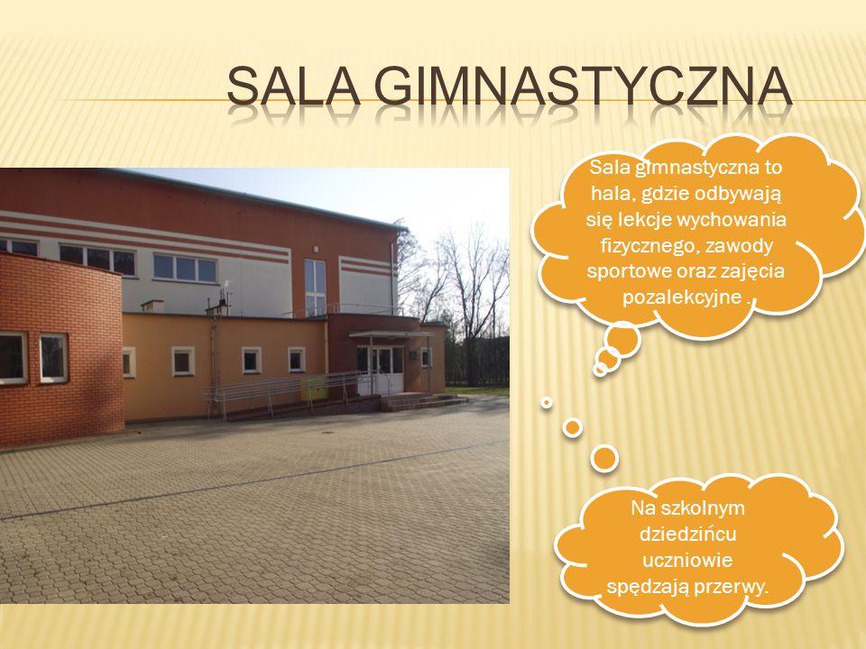 Sala gimnastyczna to hala, gdzie odbywają się lekcje wychowania fizycznego, zawody sportowe oraz zajęcia pozalekcyjne. Na szkolnym dziedzińcu uczniowi