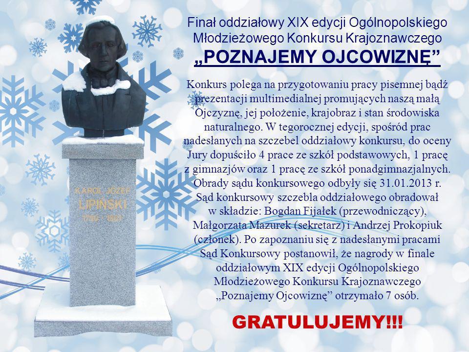 Finał oddziałowy XIX edycji Ogólnopolskiego Młodzieżowego Konkursu Krajoznawczego POZNAJEMY OJCOWIZNĘ Konkurs polega na przygotowaniu pracy pisemnej b