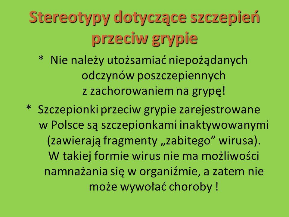 Stereotypy dotyczące szczepień przeciw grypie * Nie należy utożsamiać niepożądanych odczynów poszczepiennych z zachorowaniem na grypę! * Szczepionki p