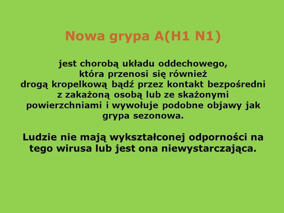 Nowa grypa A(H1 N1) jest chorobą układu oddechowego, która przenosi się również drogą kropelkową bądź przez kontakt bezpośredni z zakażoną osobą lub ze skażonymi powierzchniami i wywołuje podobne objawy jak grypa sezonowa.