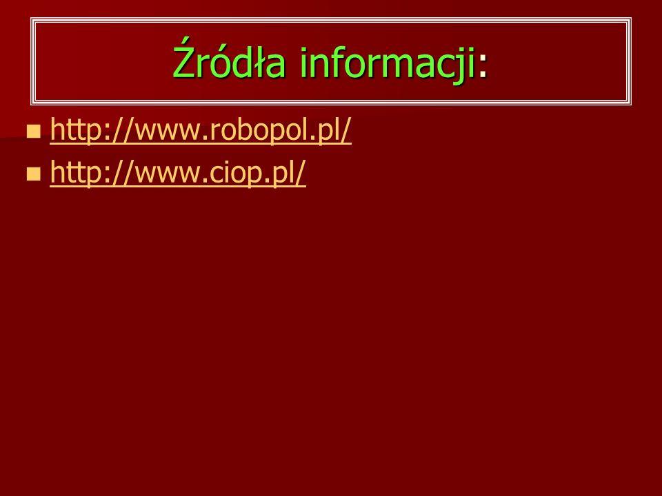 Źródła informacji: http://www.robopol.pl/ http://www.ciop.pl/