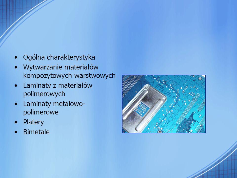 Ogólna charakterystyka Wytwarzanie materiałów kompozytowych warstwowych Laminaty z materiałów polimerowych Laminaty metalowo- polimerowe Platery Bimet