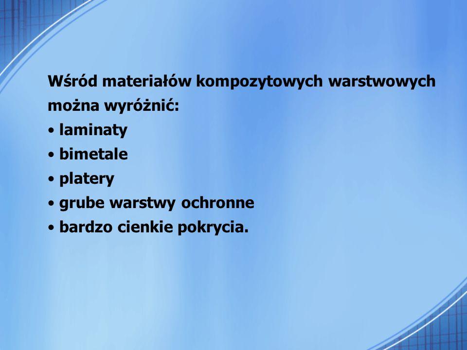 Wśród materiałów kompozytowych warstwowych można wyróżnić: laminaty bimetale platery grube warstwy ochronne bardzo cienkie pokrycia.