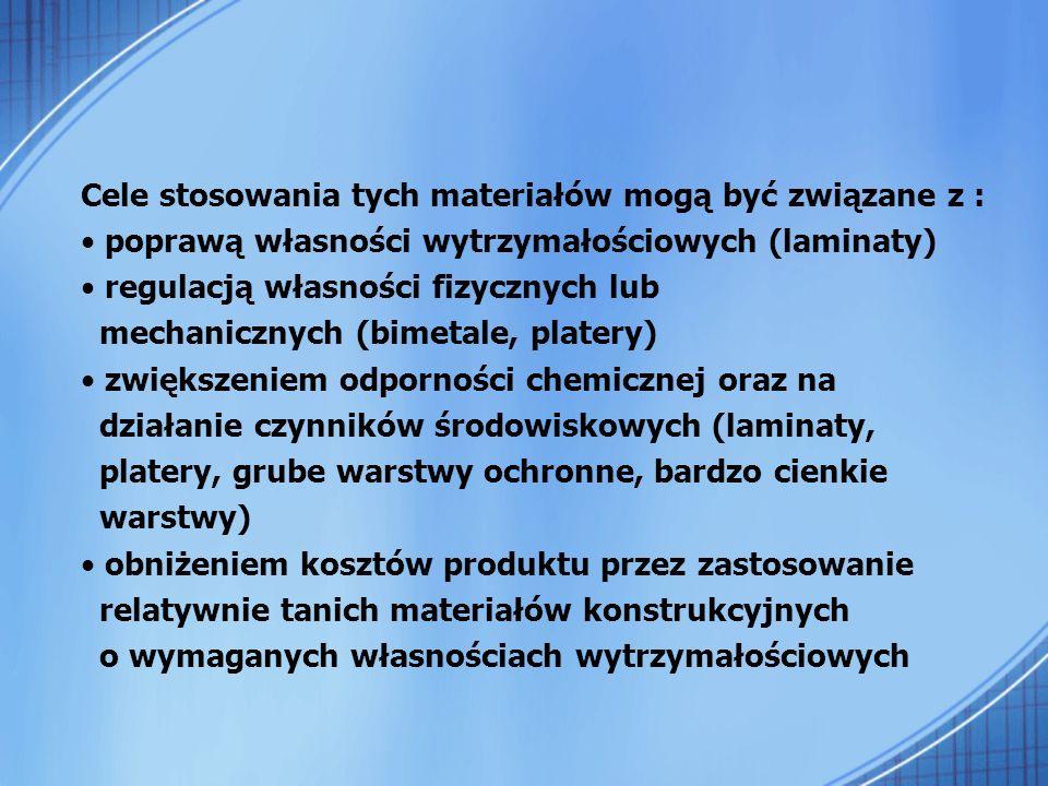 Cele stosowania tych materiałów mogą być związane z : poprawą własności wytrzymałościowych (laminaty) regulacją własności fizycznych lub mechanicznych