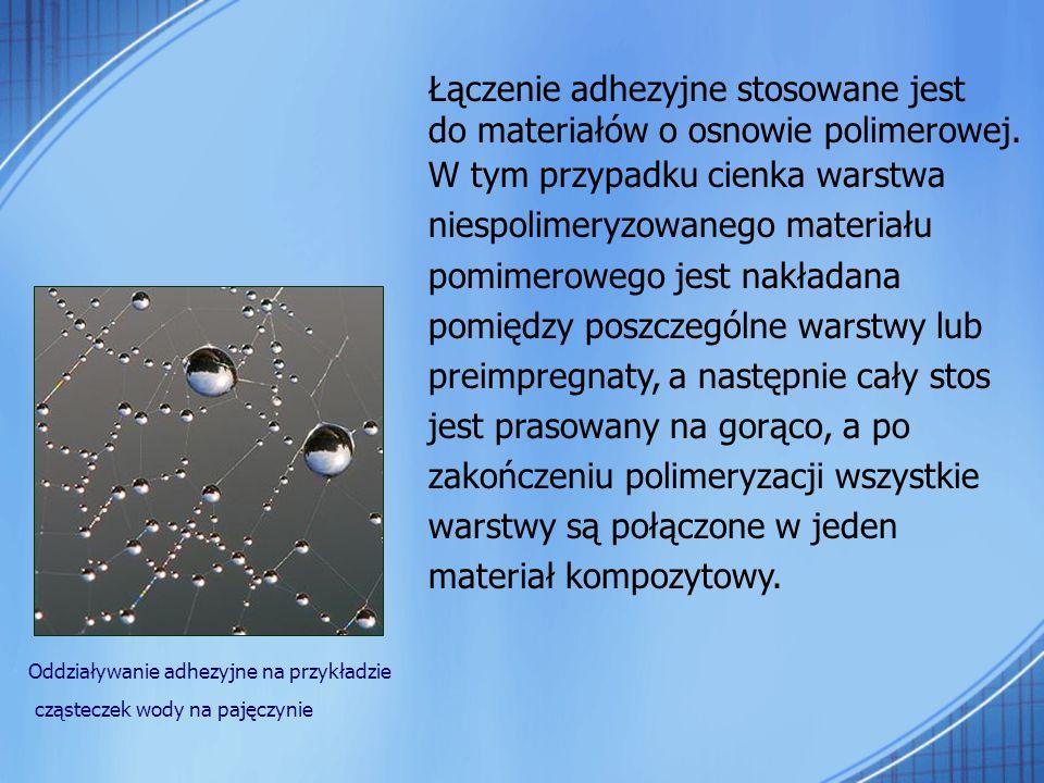 Łączenie adhezyjne stosowane jest do materiałów o osnowie polimerowej. W tym przypadku cienka warstwa niespolimeryzowanego materiału pomimerowego jest