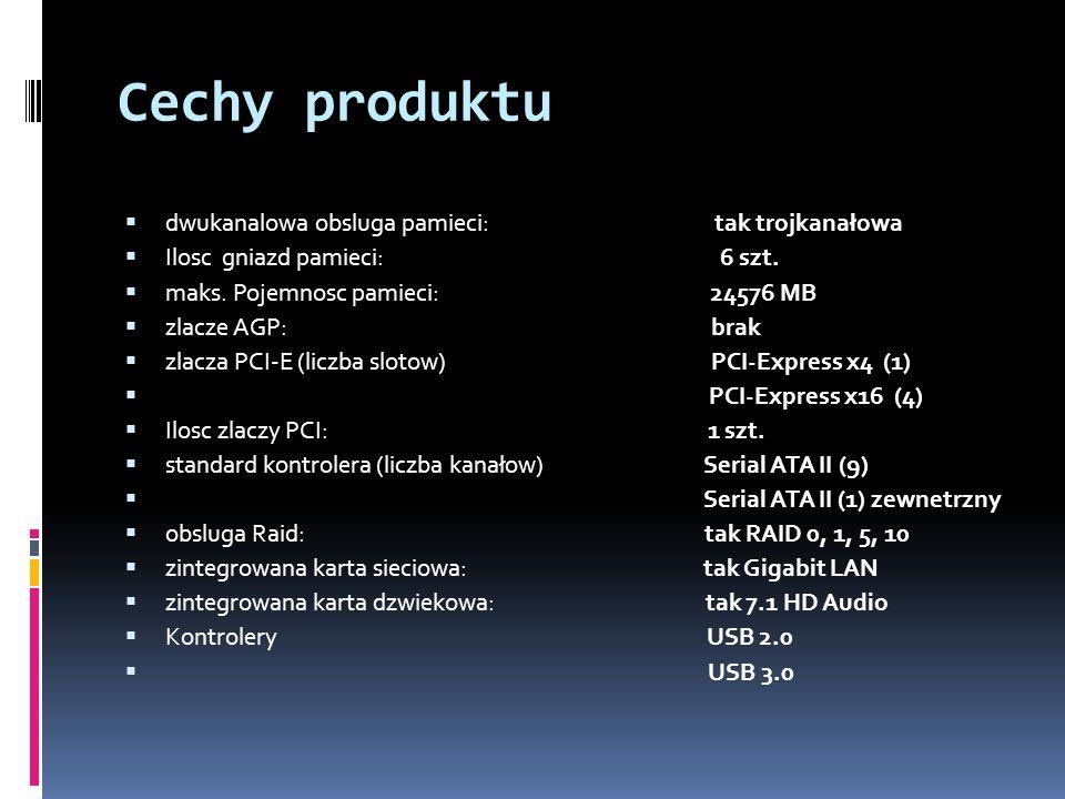 Cechy produktu dwukanalowa obsluga pamieci: tak trojkanałowa Ilosc gniazd pamieci: 6 szt.
