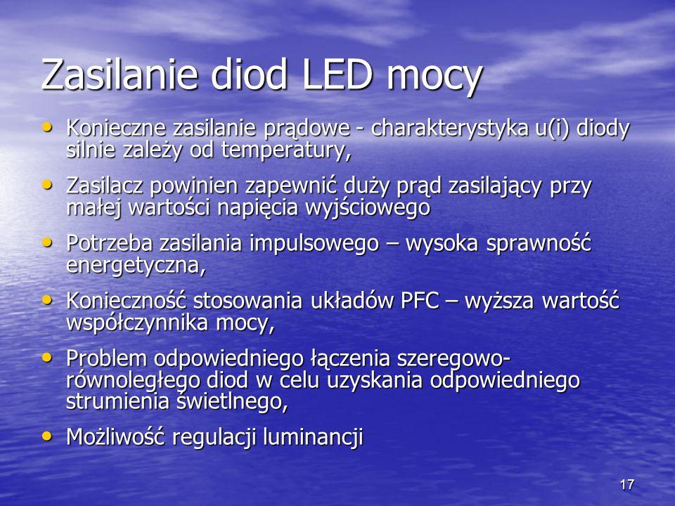 17 Zasilanie diod LED mocy Konieczne zasilanie prądowe - charakterystyka u(i) diody silnie zależy od temperatury, Konieczne zasilanie prądowe - charak