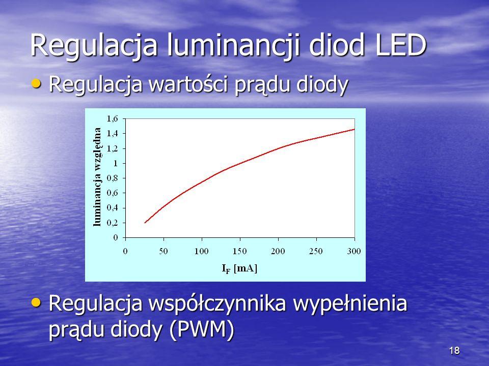 18 Regulacja luminancji diod LED Regulacja wartości prądu diody Regulacja wartości prądu diody Regulacja współczynnika wypełnienia prądu diody (PWM) R
