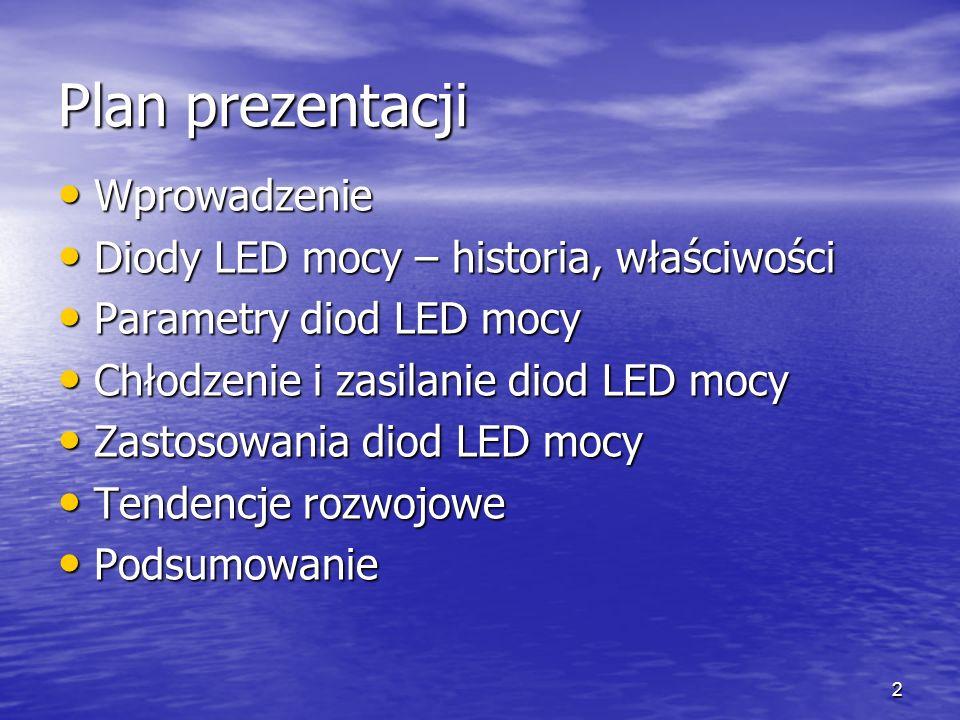 3 Wprowadzenie Oświetlenie – zużywa ponad 20% produkowanej energii elektrycznej Oświetlenie – zużywa ponad 20% produkowanej energii elektrycznej Parametry źródeł światła Parametry źródeł światła –Strumień świetlny (lm) – całkowite światło wypromieniowane ze źródła światła, –Natężenie światła (cd), –Natężenie oświetlenia (lx), –Luminancja (cd/m 2 ), –Sprawność źródła światła (lm/W) – iloraz emitowanego strumienia świetlnego do mocy elektrycznej pobranej przez to źródło –Widmo emitowanego promieniowania lub temperatura barwy światła białego –Czas życia (h) –Jasność źródła światła